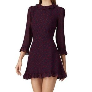Reformation Stevie floral ruffle collared dress
